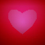 Knitted pattern with heart vector illustration