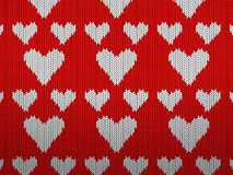 Knitted pattern hearts Royalty Free Stock Photos