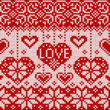 Knitted pattern with hearts Stock Photo