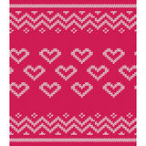 Knitted pattern with hearts. Vector knitting texture. Royalty Free Stock Image