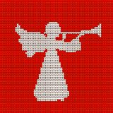 A knitted pattern, a heavenly angel blows a trumpet. Christmas. stock illustration
