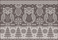 Knitted pattern with owls stock photos