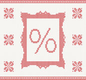 Knitted pattern with percent Royalty Free Stock Image