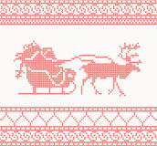 Knitted pattern with Santa Claus Stock Image
