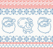 Knitted pattern with santa claus Royalty Free Stock Photos