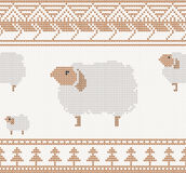 Knitted pattern with sheep Stock Images