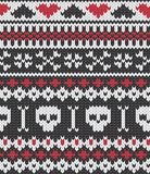 Knitted pattern with skulls. Seamless knitted pattern for winter clothing. EPS 10 vector illustration stock illustration