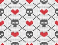 Knitted pattern with skulls. Seamless knitted pattern with skulls and hearts. EPS 10 vector illustration royalty free illustration