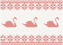 Knitted pattern with swan Stock Image