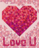 Knitted pattern with triangle heart Stock Images