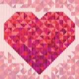 Knitted pattern with triangle heart. Vector illustration Stock Images
