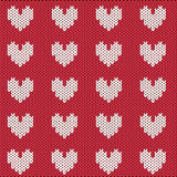 Knitted pattern for Valentine's Day Stock Images