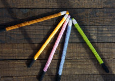 Knitted pencil, handmade gift, nice craft Stock Images