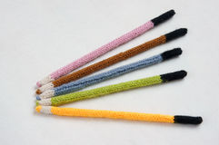 Knitted pencil, handmade gift, nice craft Royalty Free Stock Photography