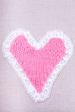Knitted  pink retro heart Royalty Free Stock Photo