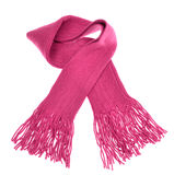 Knitted pink scarf with fringe Royalty Free Stock Photo