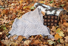 Knitted plaid with autumn leaves. Knitted poncho with autumn maple leaves, timber and wooden bag Royalty Free Stock Images