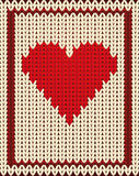 Knitted poker card hearts, vector Stock Photography
