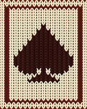 Knitted poker card spade, vector Royalty Free Stock Image