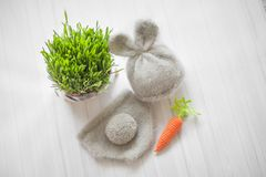 Knitted props, a bunny suit for a newborn baby royalty free stock image