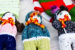 Knitted puppets as christmas gifts royalty free stock photos