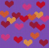 Knitted purple seamless pattern with hearts vector illustration