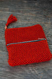 Knitted purse Royalty Free Stock Photography