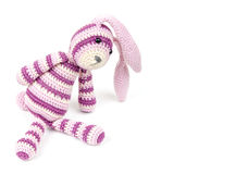 Knitted rabbit toy sits isolated on white Royalty Free Stock Photography