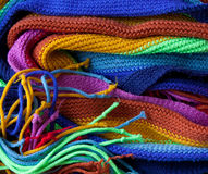 Knitted rainbow scarf Royalty Free Stock Photography