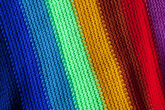 Knitted rainbow scarf Stock Photography