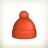 Knitted red cap Royalty Free Stock Photo