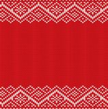Knitted red christmas geometric ornament. Winter seamless knit background with empty place for your text. Xmas sweater texture design. Vector illustration Royalty Free Stock Photos