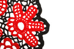 Knitted red flower Stock Photo