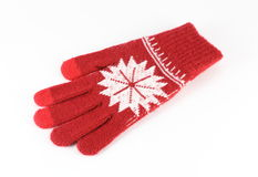 Knitted Red Gloves Stock Photo