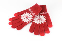 Knitted Red Gloves Royalty Free Stock Image
