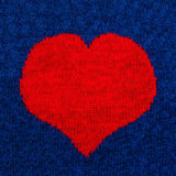 Knitted red heart Royalty Free Stock Image