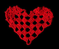 Knitted red heart Stock Image