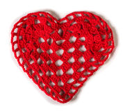 Knitted red heart stock photography