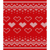 Knitted red pattern with hearts. Vector knitting texture. Royalty Free Stock Photos