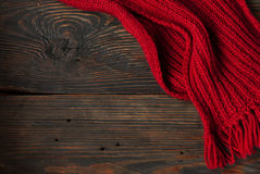 Knitted red scarf Stock Photography