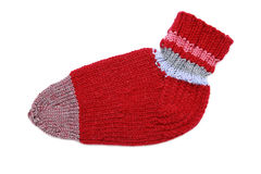 Knitted red sock Stock Photos