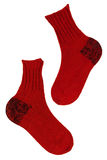 Knitted red socks Stock Photo