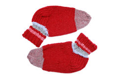 Knitted red socks Royalty Free Stock Images