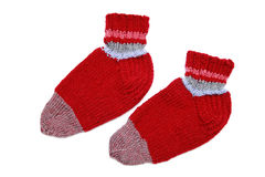 Knitted red socks Royalty Free Stock Photo