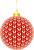 Knitted red and white mottled Christmas ball Royalty Free Stock Images