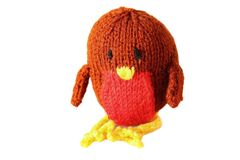 Knitted robin toy A Royalty Free Stock Images