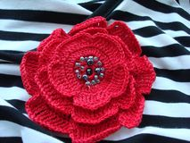 Knitted rose stock photo