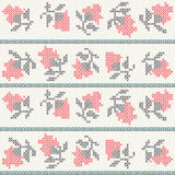 Knitted roses pattern. Knitted roses seamless pattern design Stock Photos