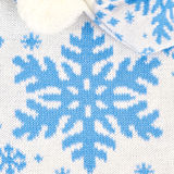 Knitted scarf and hat with snowflakes Stock Photo