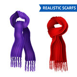 Knitted Scarf Image Set. Realistic 3d image set of 2 knitted scarf purple and red color tied  vector illustration Royalty Free Stock Photo
